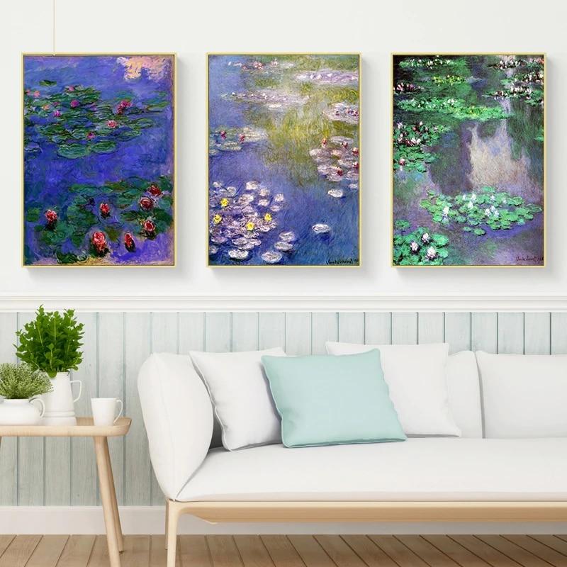 Gohipang Impressionista Monet Pintura A Óleo da Lona Arte Da Parede Flores de Lótus Sala de estar do Retrato Da Parede Para A Marvel Cartazes E Cópias
