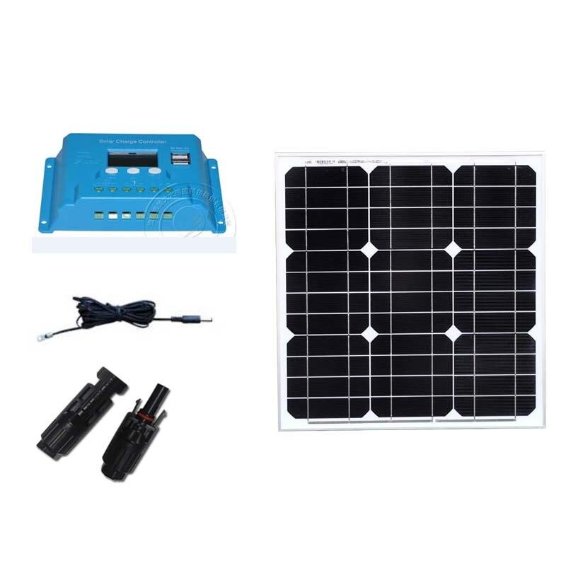 Singfo, Panel Solar, 12 v, 40 w, controlador de carga Solar, 12 v/24 v, 10 A, batería Solar, caravana, camping, luz Solar, lámpara LED, ventilador, teléfono LM