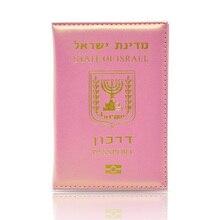 DIKEDAKU mode couverture de passeport en cuir brillant femmes rose doux israël voyage passeport titulaire mignon dames marque étui pour passeport