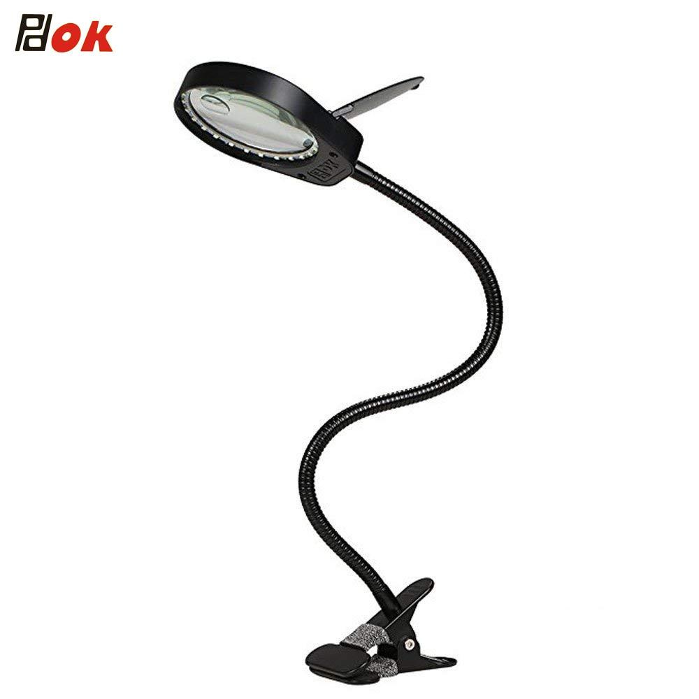 3X10X светодиодный светильник с увеличительным стеклом 5 Вт Лупа 97 мм Диаметр линзы 38 Светодиодный s для чтения, вышивки, осмотра клип-на настол...