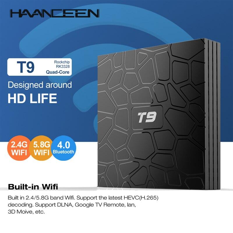 4GB 64GB Android 8.1 TV Box T9 RK3328 Quad Core 4G/32G USB 3.0 Smart 4K Set Top Box Optional 2.4G/5G Dual WIFI BT MINI PC