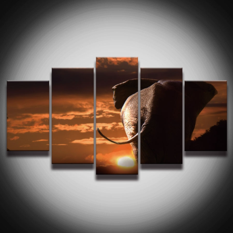 Pintura de elefante africano impresa en aerosol, lienzo sin marco, arte de 5 paneles, decoración de pared de paisaje de atardecer para habitación, póster de impresión