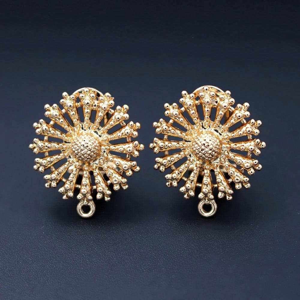 Clip Earring Post with Loop Connectors Filigree Saudi Arabic Chile African Women Wedding Earrings Findings DIY Jewelry Making