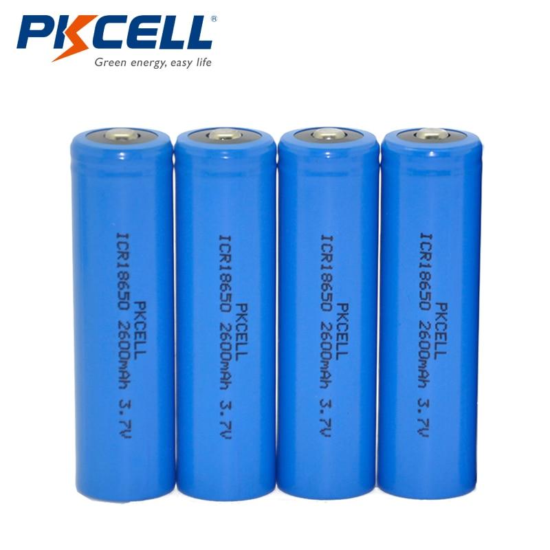 Акция 4x PKCELL Li-Ion ICR 18650 2600mAh 3,7 V аккумуляторная батарея Кнопка Топ для фонарей