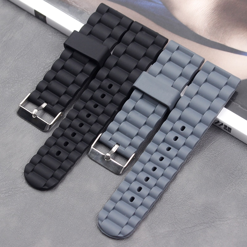 AliExpress - Silicone strap ladies strap accessories Pin buckle 24mm Men's sports sweat-absorbent natural rubber strap
