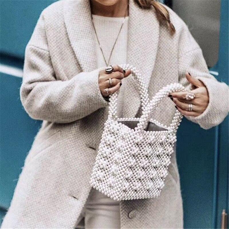 M mismo 2020 ins estilo de malha pérolas saco para mulheres meninas romântico luxo cristal miçangas bolsa carteira telefone chaves