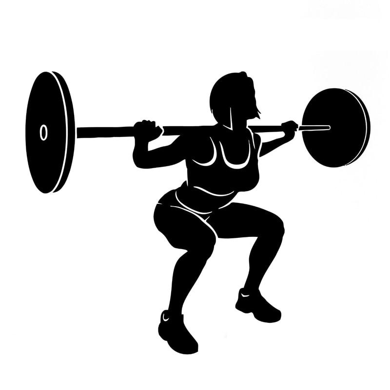 16,7 CM * 13,7 CM interesante Fitness deportes halterofilia vinilo pegatina coche negro/decoración plateada S9-0620