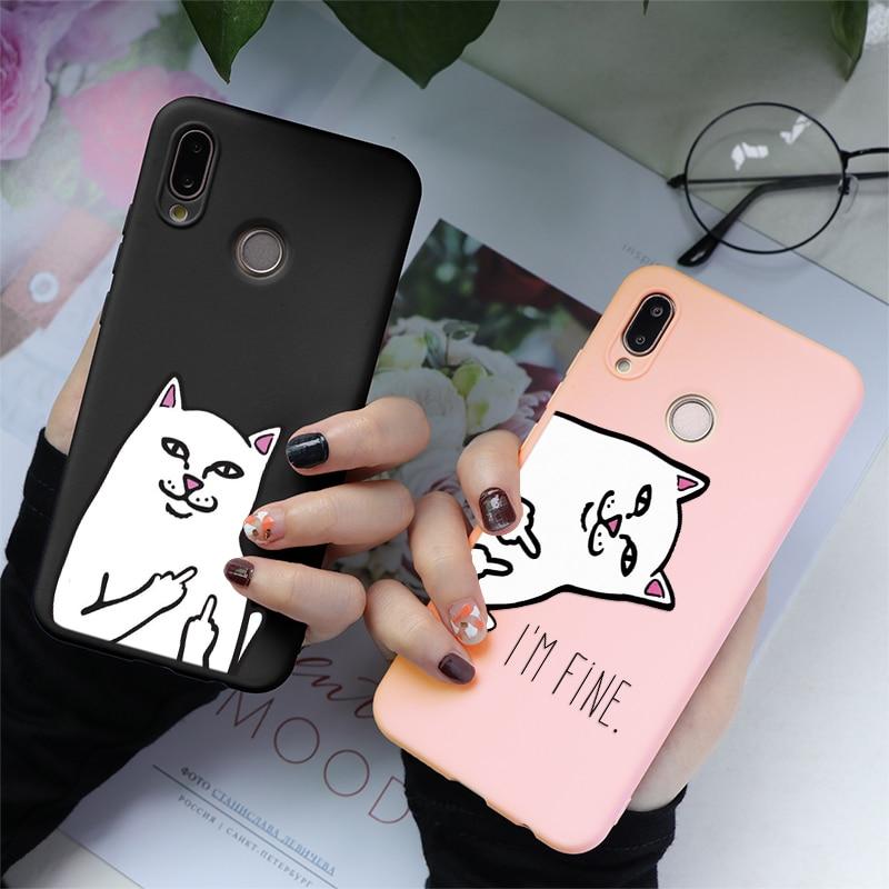 Funda de gato Rosa Mate para Huawei Y6 Y9 P Smart 2019 Mate 20 10 P30 P8 P9 P10 P20 Pro Lite 2017 Plus funda trasera suave TPU Coque