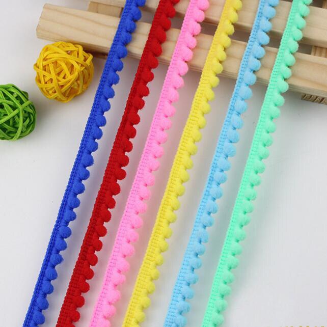 Pompón de 40 yardas, Bola de adorno de encaje de 10mm, MINI pompón de perlas, cinta con flecos, Diy, costura de encaje de punto, accesorios artesanales hechos a mano