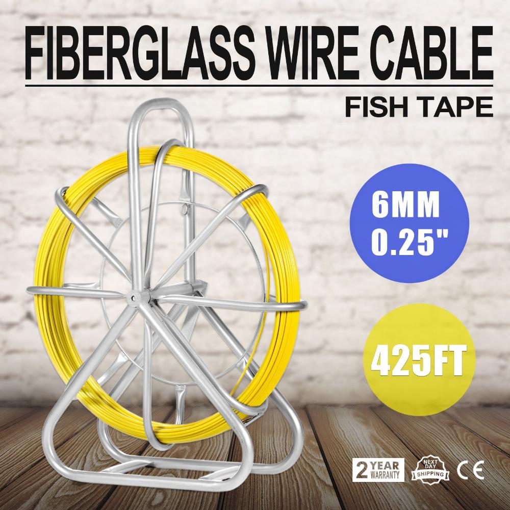 6mm Peixes da Fita De Fibra De Vidro Cabo de Fio Correndo Haste Fishtape Haste 130 m