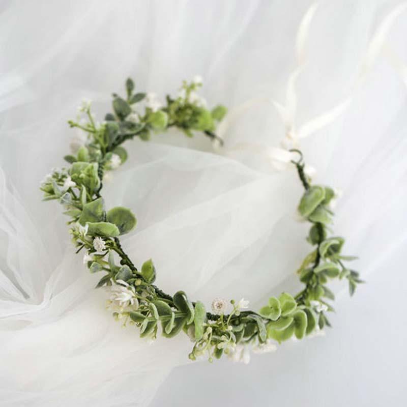 Accesorios románticos para novia, boda, graduación, hojas de novia, diadema verde con...