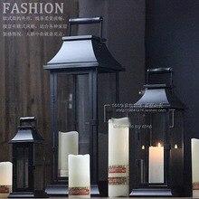 Européen noir en fer forgé verre rétro vent lampe romantique créatif chandelier décoration mariage route plomb cheval lumière accessoires
