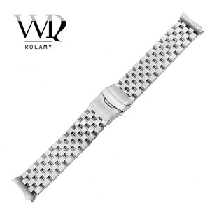 Rolamy 22mm Silver Hollow Curved End Solid Links Replacement Watch Band Strap Bracelet Double Push Clasp For Seiko