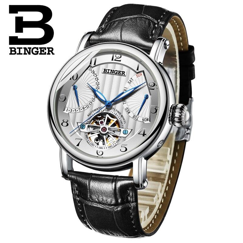 Relojes de pulsera para hombre de lujo de la marca BINGER Business Sapphire a prueba de agua correa de cuero genuino relojes de pulsera mecánicos para hombre