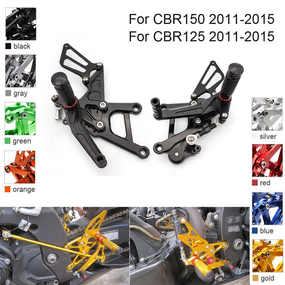 CNC Aluminum Adjustable Rearsets Foot Pegs For Honda CBR150 CBR125 CBR 150 125 2011 2012 2013 2014 2015