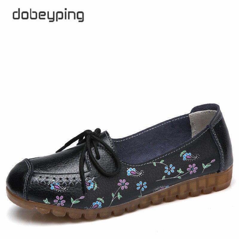 2018 estampado flor primavera zapatos mujer cordones mujeres pisos cuero de vaca genuino mujer mocasines señoras zapato tamaño 35-42