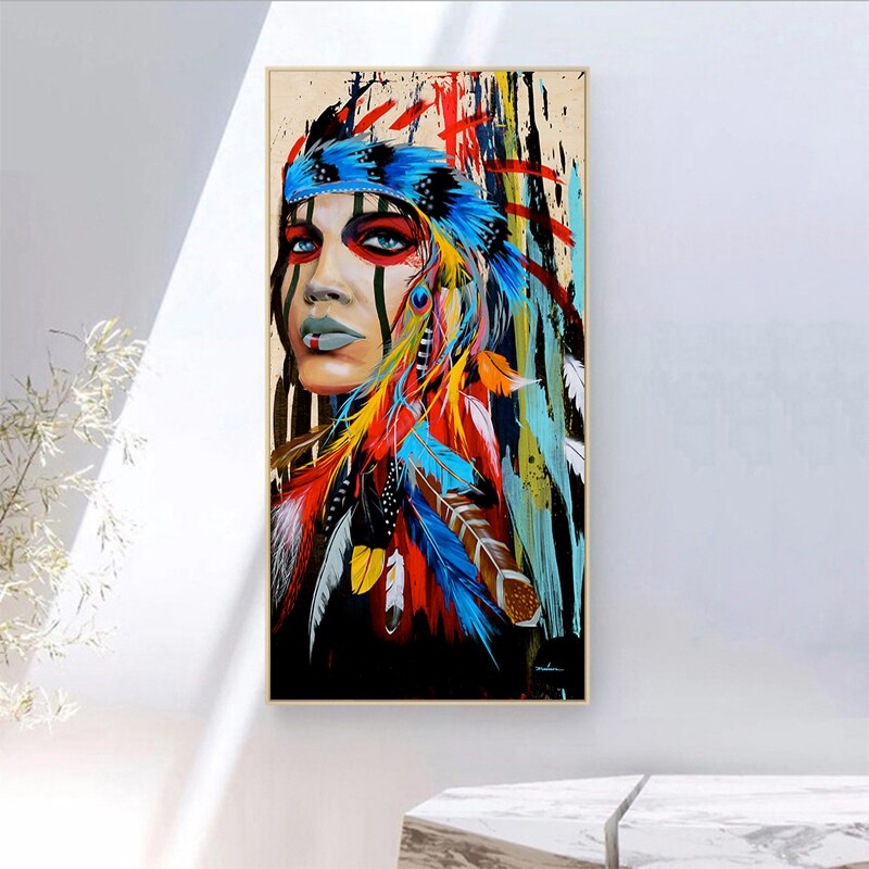 70x140cm gran tamaño oferta pluma mujer lienzo pared arte impreso Digital impresión fotográfica hogar cuadros de decorativos para pared sin marco