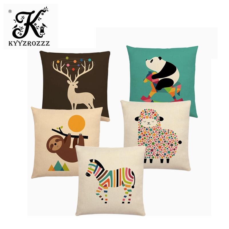 Cute Cartoon Animals Interesting Deer Panda Sheep Bulldog Chameleon Sloth Panda Elk Colourful Cushion Cover Sofa Pillow Case