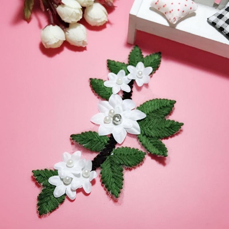 2 Pcs Colors Flower 3D Pearl Lace Appliques Embroidery Patches Trim Lace Patches For Clothing Bridal Dress Decoration