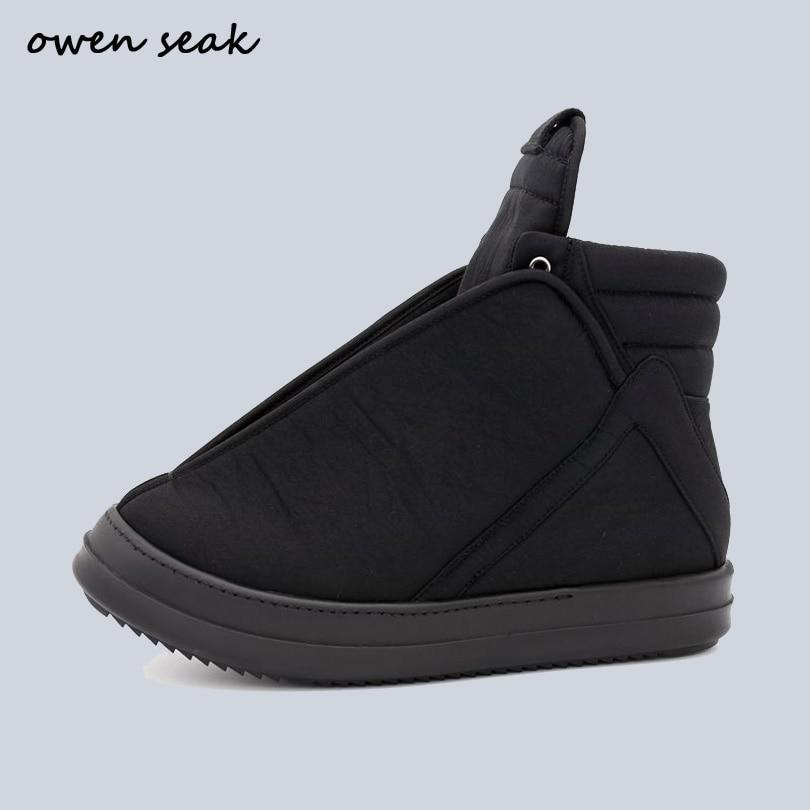 Ott Seak-حذاء نسائي من القماش القطني الأسود ، حذاء رياضي بكعب عالٍ ، حذاء رياضي برباط علوي ، غير رسمي ، مسطح وسحاب ، لفصل الشتاء