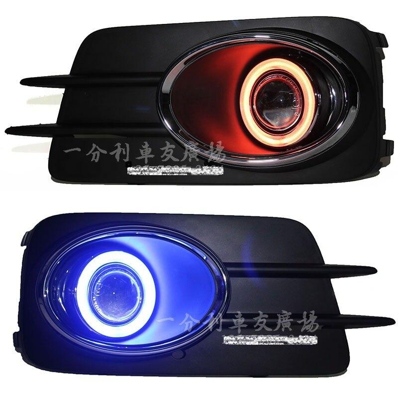 DRL COB Ojo de Ángel + lámpara antiniebla halo + lente del proyector + cubierta de luz antiniebla negra + para Volkswagen VW tiguan 2010-12,2 Uds