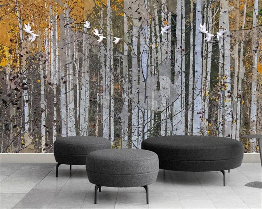 Beibehang 2018 pano de seda papel de parede abstrato Pintados À Mão floresta do vidoeiro sofá TV papel de parede do fundo da parede 3d papel de parede