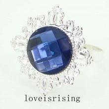 50pcs/Lot Navy Blue Gem Napkin Rings Silver Plated Vintage Style Wedding Dinner Decoration Serviette Holder
