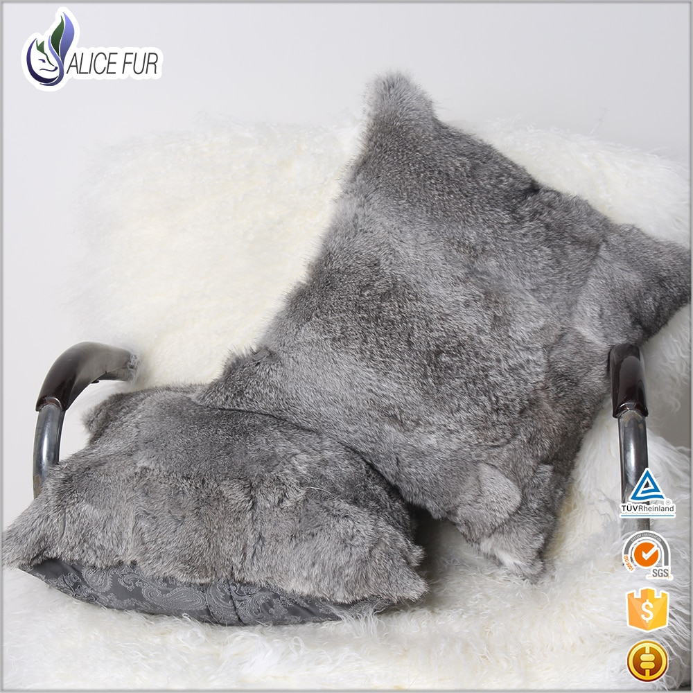 غطاء وسادة من فرو الأرانب, غطاء وسادة رمادي طبيعي 100% من الفرو الحقيقي