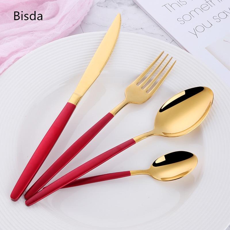 الغربية الذهب أواني الطعام مجموعة 24 قطعة 18/0 الفولاذ المقاوم للصدأ الأبيض أدوات المائدة الذهب أعلى جودة الأسود و طقم سكاكين ذهبية سكينة عشاء