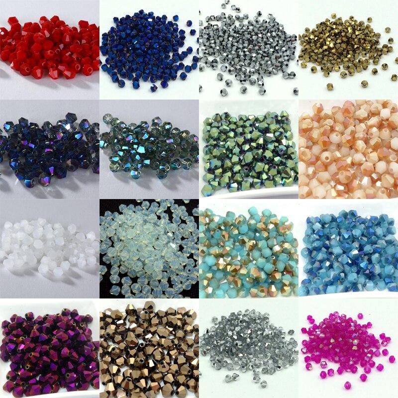 Caliente ~ 4mm 1000 unids/lote Bicone 5301 cuentas de cristales austriacos espaciador suelto cuenta para DIY joyería haciendo U escoger colores
