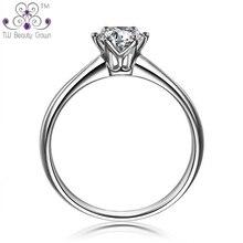 1 Stück 1 Karat Echt 925 Sterling Silber Ewige 6 Zinken klassisches Design Klar Kubikzircon Hochzeit Ringe Für Frau Modeschmuck