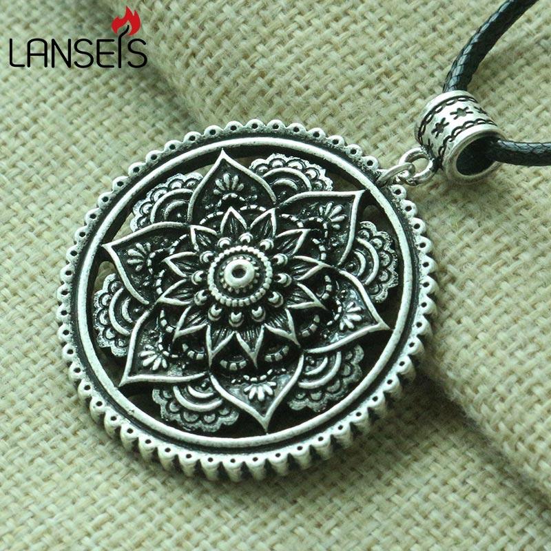 Lanseis 1 stücke Boho Stil Lotus Mandala anhänger Mandala blume frauen halskette geometrie amulett anhänger Tribal Zigeuner Schmuck