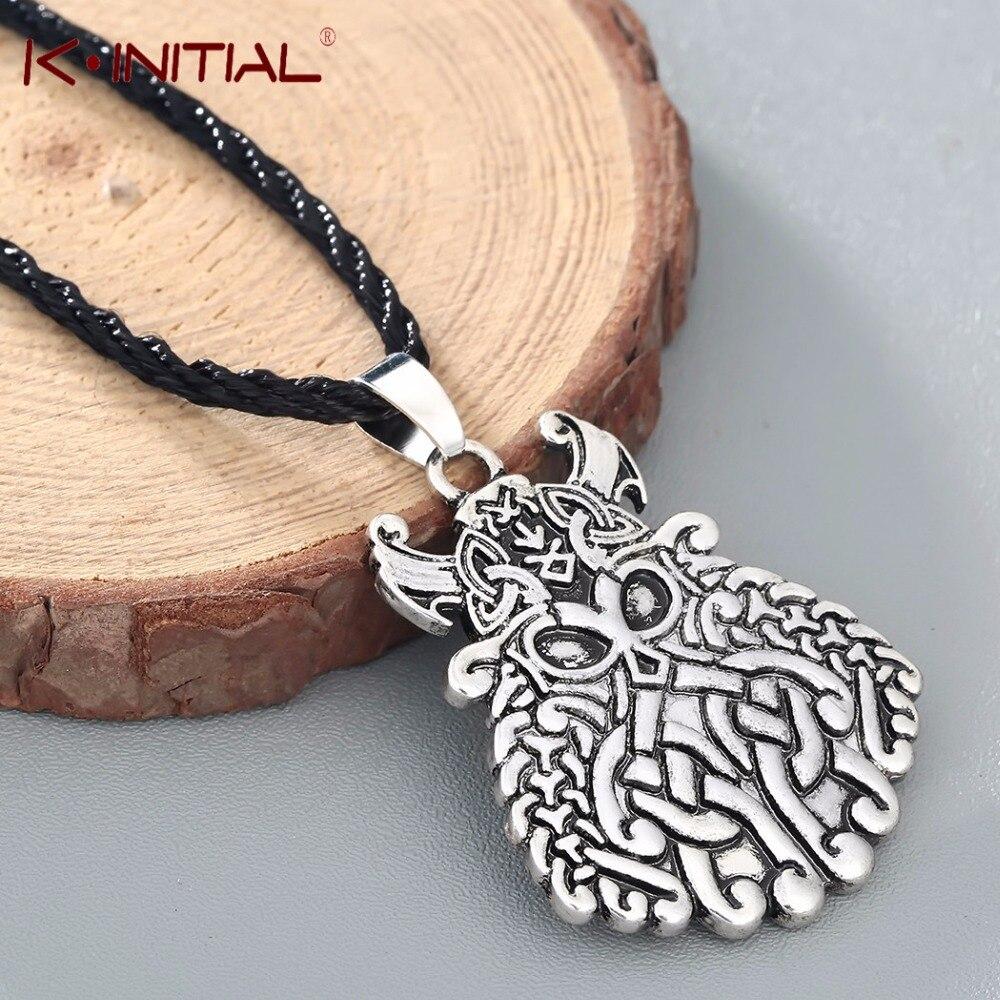 Kinitial nordique pendentifs & colliers étain dieu Odin masque Viking guerrier pendentif collier nordique Asatru Rune bijoux pour hommes