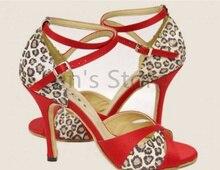 New Hot Red Leopard Print Salsa Dance Shoes Open Toe Dance Shoe Ballroom Salsa Latin Tango Bachata Dancing Dance Shoes