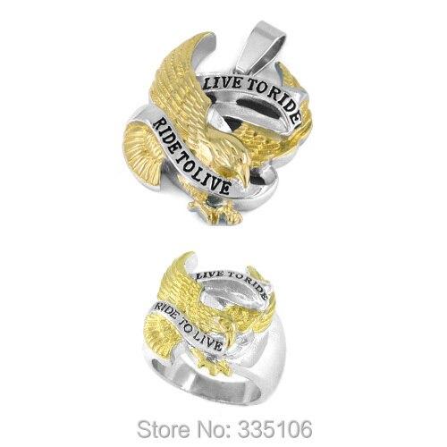 ¡Envío Gratis! Oro Vivo para montar motorista águila anillo y colgante Acero inoxidable joyas Motor joyas de motorista Set SWR0183RP
