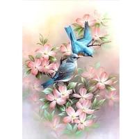 diamond embroidery 5d diy full round diamond painting birds in flower pattern cross stitch stickers home decor