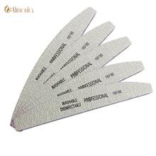 5 шт./лот, профессиональные пилочки для ногтей, 100/180 буфер, двухсторонний серый цвет, изгиб банана, инструменты для ухода за ногтями, высокое качество