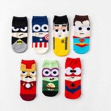 36-43 sommer Männer Harajuku Socken Hip Hop Ninja Batman Superman SpiderMan Captain America Avengers Kurze Neuheit