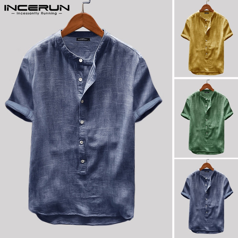 Camiseta de manga corta para hombre, transpirable, abotonada, de Color liso, estilo Harajuku, Vintage, informal, para hombre, de INCERUN, 2020