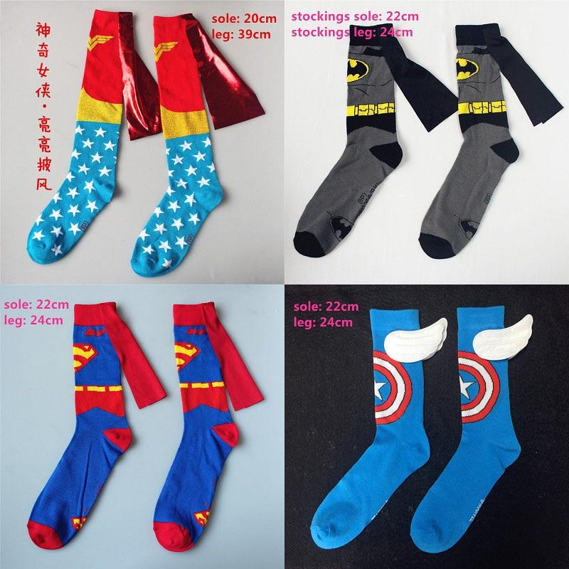 Men Women Batman Wonder Woman Cosplay Stockings Adult Knee-High Cartoon Calf Socks Marvel Iron Man Spiderman Casual Socks