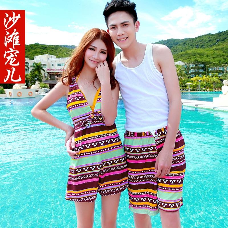 Couples swimwear, men's beach pants Hot spring three-piece cover belly bag hip swimwear honeymoon dress beach swimwear enlarge