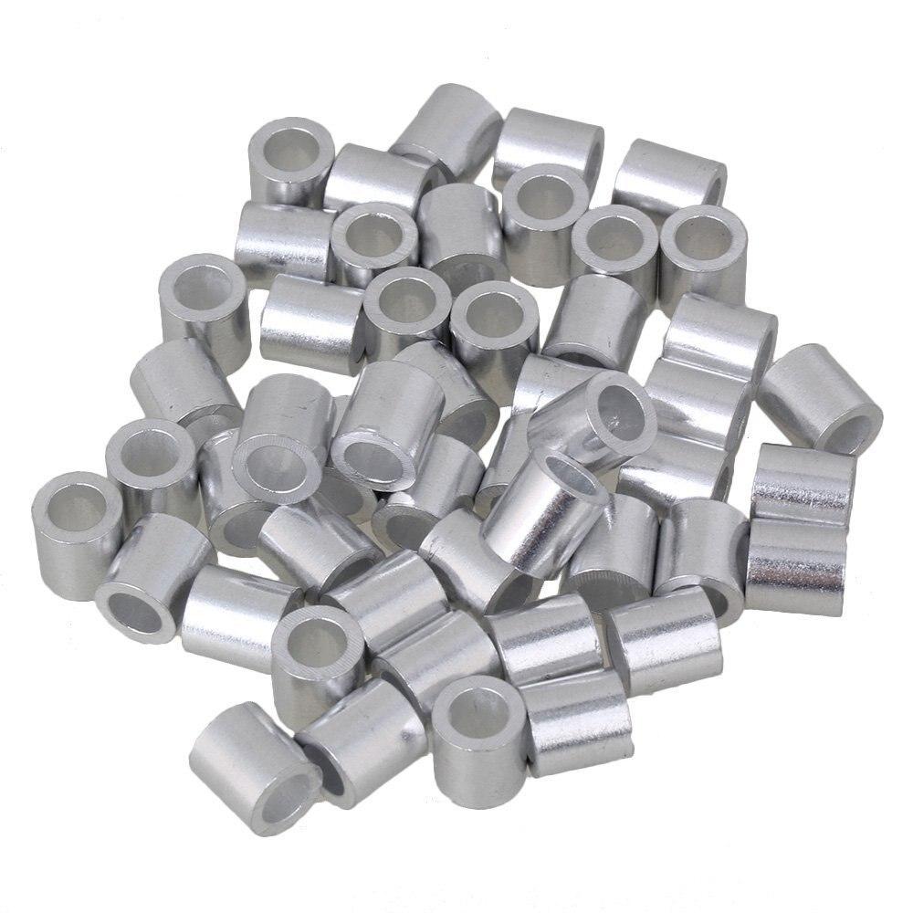 5mm virolas redondas astilla de aluminio prensado de cuerda de alambre Clip manguitos abrazaderas para M5 cuerda de alambre paquete de 100