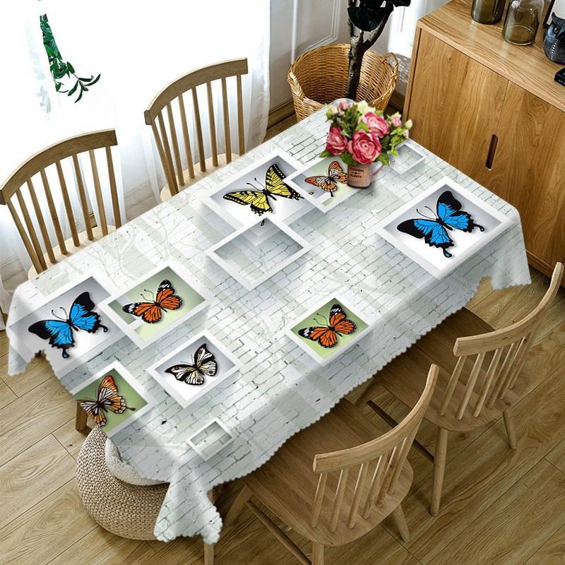 Manteles redondos de lujo impermeables 3D mantel rectangular, mantel de mesa para banquetes, tamaño personalizado, funda de cojín tipo mariposa