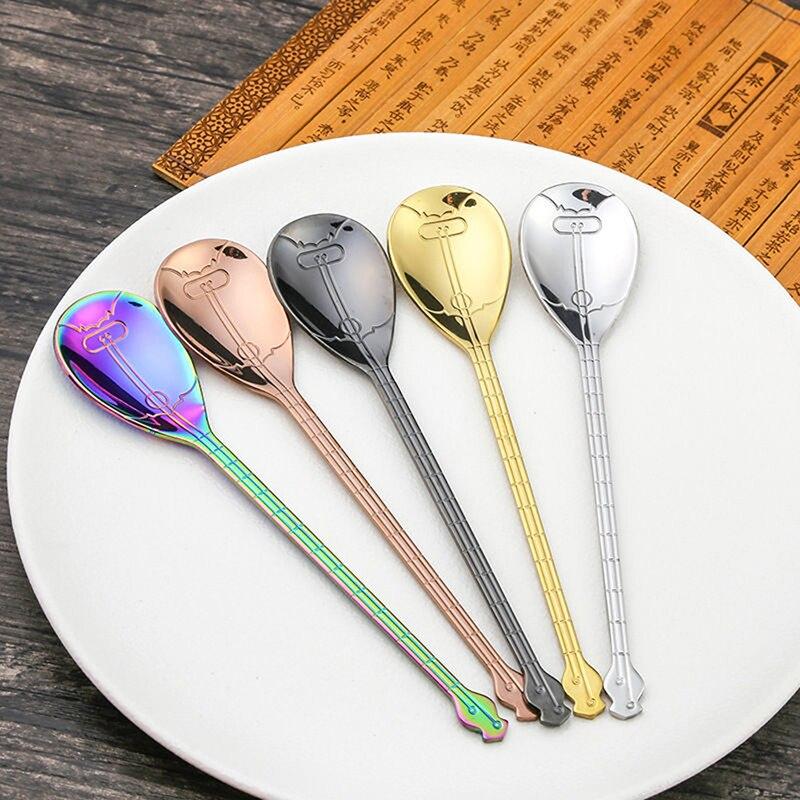 Creativo de acero inoxidable Pipa cuchara de crema de leche café dulces cuchara de té postre accesorios Ktchen Bar herramientas utensilios de cocina