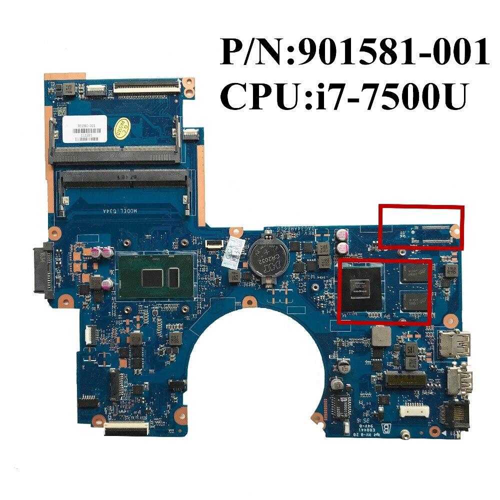 Excelente placa base para ordenador portátil HP 15-AU i7-7500U CPU DDR4 940M X 2GB 901581-001 901581-601 DAG34AMB6D0 DE TRABAJO DE 100%
