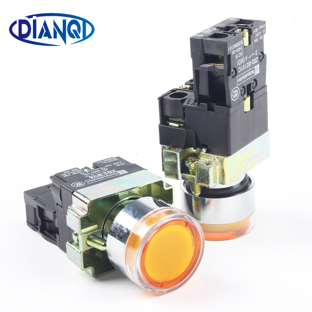 DIANQI عشرة الدعاوى XB2 BW3561 XB2-BW3561 مباشرة نوع مضيئة مجهار التبديل مفتاح بـزر دفع