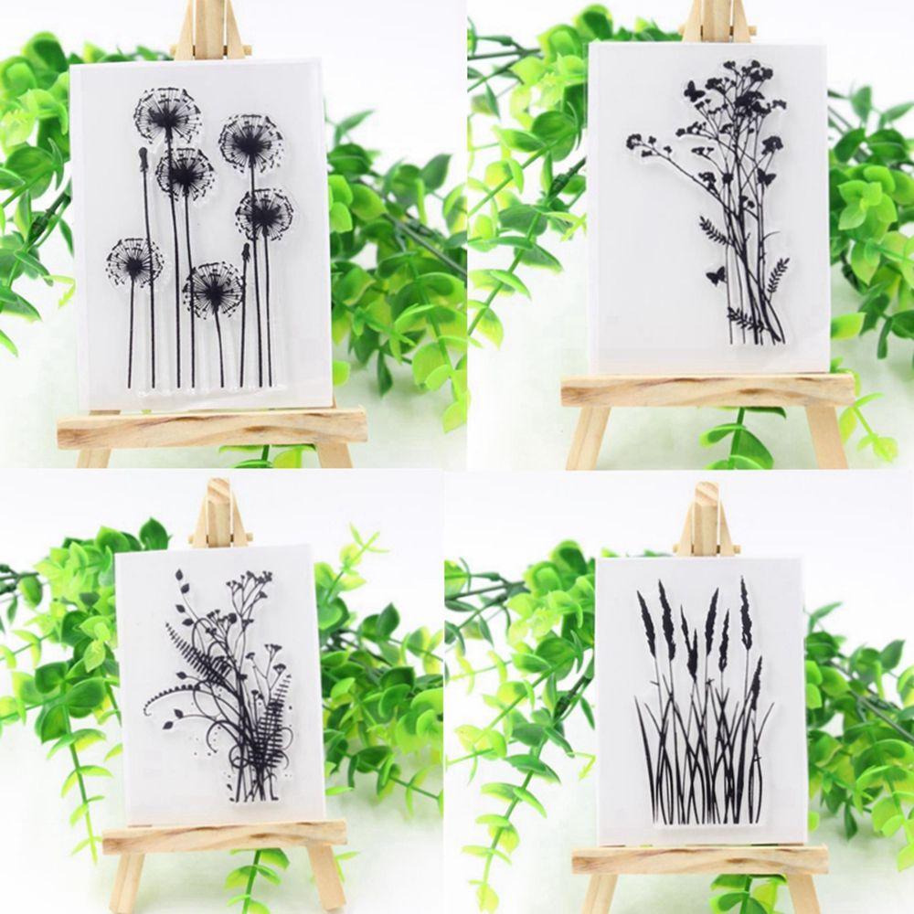 Nuevo sello de goma de silicona transparente, varios diseños de hojas de flores y hierba, colección de recortes DIY 1 unidad