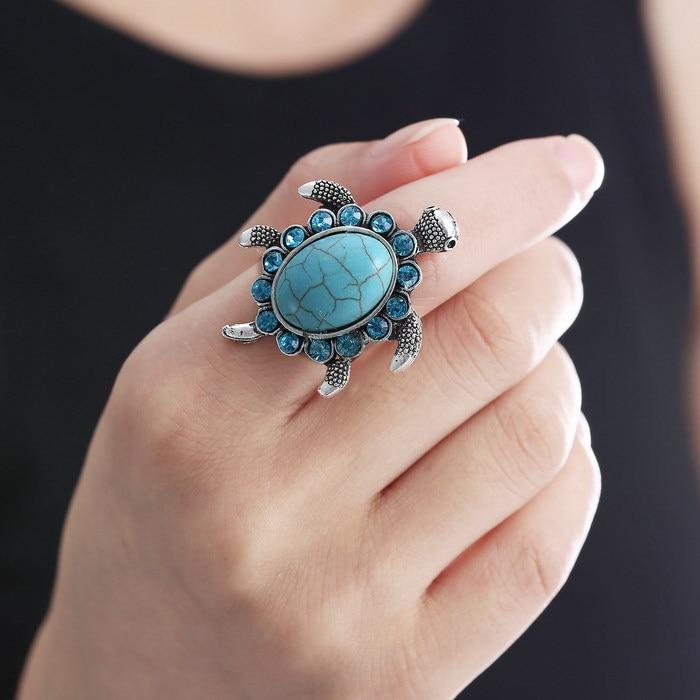 Anillos de tortuga de Color plateado Vintage, anillo de Gema azul a la moda para mujer, accesorios de joyería únicos e informales para fiestas