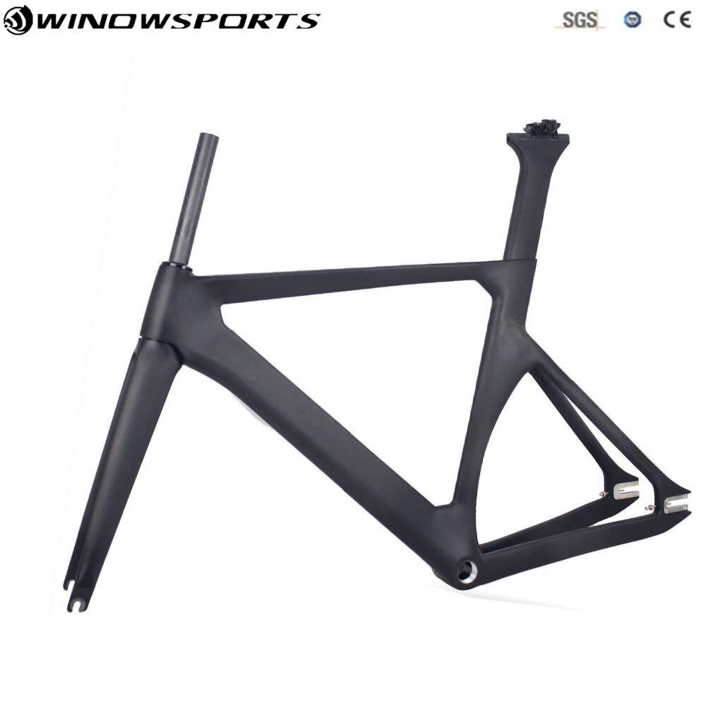 Marco de pista de fibra de carbono marcos de carretera Marco de bicicleta de engranaje fijo con horquilla + tija + auricular tamaño 48/51/54/57cm bicicleta de carbono