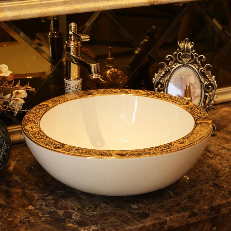 Luxurious Golden Counter top Bathroom Sink Lavabo Washbasin hand painted vessel sinks ceramic decorative ceramic wash basins